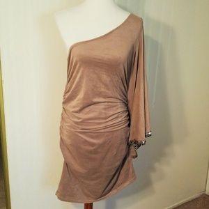 2B Bebe faux suede one sleeve dress